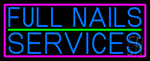 Blue Full Nail Services Neon Sign