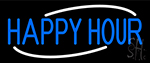 Blue Happy Hour Neon Sign