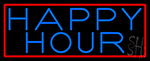 Blue Happy Hour With Red Border Neon Sign
