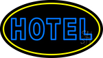Blue Hotel With Yellow Border LED Neon Sign