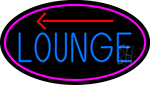Blue Lounge And Arrow Oval With Pink Border Neon Sign