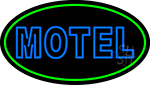 Blue Motel Double Stroke And Green Border Neon Sign