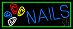 Blue Nails Logo Neon Sign