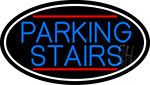 Blue Parking Stairs Oval With White Border LED Neon Sign