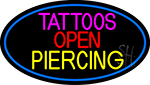 Blue Tattoo Piercing Open LED Neon Sign