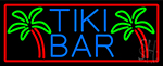 Blue Tiki Bar Palm Tree With Red Border LED Neon Sign