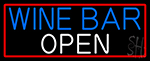 Blue Wine Bar Open White Red Border LED Neon Sign