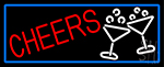 Cheers And Wine Glass With Blue Border Neon Sign