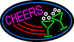 Cheers With Wine Glass Oval With Blue Border LED Neon Sign