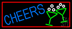 Cheers With Wine Glass With Red Border LED Neon Sign