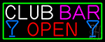 Club Bar With Martini Glass Open Neon Sign
