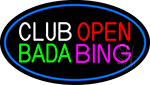 Club Open Bada Bing With Blue Border LED Neon Sign