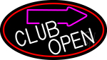 Club With Arrow Open Neon Sign