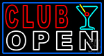 Club With Martini Glass Open Neon Sign