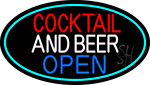 Cocktail And Beer Open Oval With Turquoise Border Neon Sign