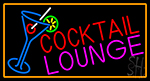 Cocktail Lounge And Martini Glass With Orange Border Neon Sign