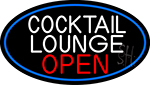 Cocktail Lounge Open Oval With Blue Border Neon Sign