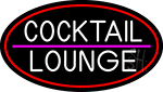 Cocktail Lounge Oval With Red Border Neon Sign