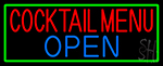 Cocktail Menu Open With Green Border Neon Sign