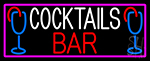 Cocktails Bar With Glass Neon Sign