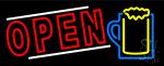 Cocktails Mug Open Neon Sign