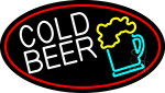Cold Beer And Beer Mug Oval With Red Border LED Neon Sign