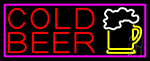 Cold Beer And Beer Mug With Pink Border LED Neon Sign