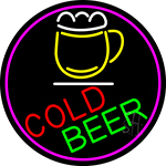 Cold Beer And Mug Oval With Pink Border LED Neon Sign
