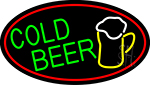 Cold Beer And Mug Oval With Red Border LED Neon Sign
