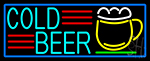 Cold Beer And Mug With Blue Border LED Neon Sign