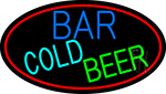 Cold Beer Bar With Red Border LED Neon Sign