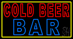 Cold Beer Bar With Yellow Border LED Neon Sign