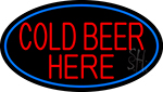Cold Beer Here With Blue Border LED Neon Sign