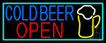 Cold Beer Open And Mug In Between With Turquoise LED Neon Sign