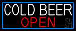Cold Beer Open With Blue Border LED Neon Sign