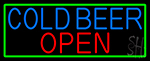 Cold Beer Open With Green Border LED Neon Sign