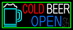 Cold Beer With Yellow Mug Open With Green Border LED Neon Sign