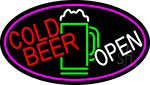 Cold Beer With Yellow Mug Open With Pink Border LED Neon Sign
