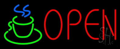 Red Open Coffee Cup LED Neon Sign