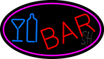 Cursive Bar With Wine Bottle And Glass LED Neon Sign