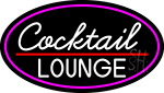 Cursive Cocktail Lounge Oval With Pink Border Neon Sign