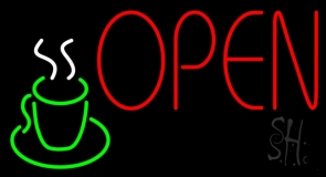 Red Open Coffee Glass LED Neon Sign
