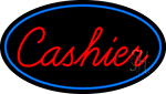 Cursive Red Cashier Oval With Blue Border LED Neon Sign