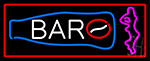 Custom Bar With Bottle And Girl With Red Border LED Neon Sign