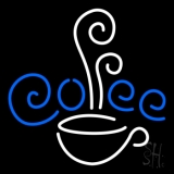 White Cup Blue Coffee LED Neon Sign