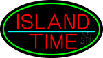 Custom Island Time Oval With Green Border LED Neon Sign