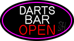 Dart Bar Open Oval With Pink Border LED Neon Sign