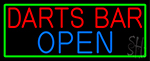 Dart Bar Open With Green Border LED Neon Sign