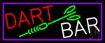 Dart Bar With Purple Border LED Neon Sign