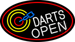 Dart Board Open Oval With Red Border LED Neon Sign